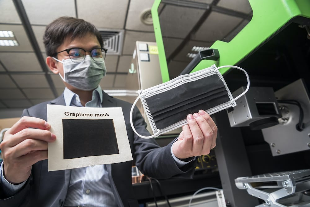 Dr Ye's team uses the CO2 infrared laser system to generate graphene. Experiment results show that the graphene they produced exhibit a much better anti-bacterial efficiency than activated carbon fibre and melt-blown fabrics. (Photo source: City University of Hong Kong)
