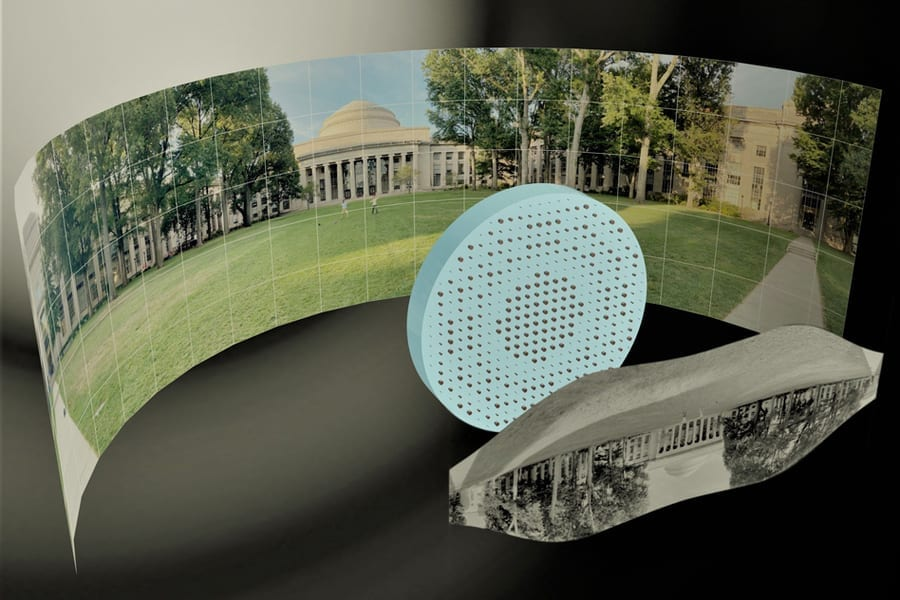 3D artistic illustration of the wide-field-of-view metalens capturing a 180 degree panorama of MIT's Killian Court and producing a high-resolution monochromatic flat image. Image: Mikhail Shalaginov, Tian Gu, Christine Daniloff, Felice Hankel, Juejun Hu