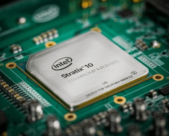 Source: Intel An FPGA integrated circuit (Intel's Stratix 10 FPGA shown here) is essential to the performance of the CMU team's intrusion detection system.