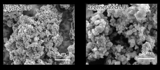 SEM image of lithium iron phosphate (LFP) cathode before regeneration (left) and after (right). Image courtesy of Panpan Xu/Joule