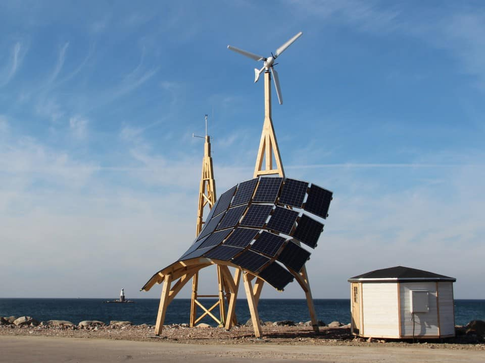 Giraffe 2.0 small wind turbine and solar PV power station and EV charger on a wooden frame