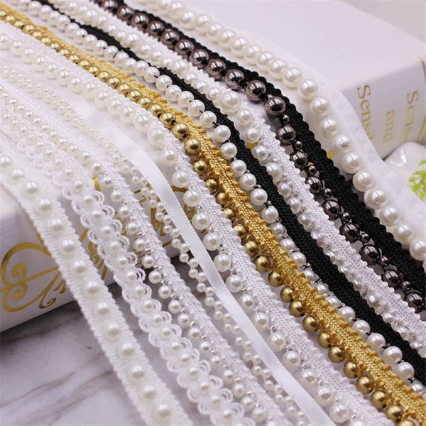 1 Yards White black Pearl Beaded Lace Trim Tape Lace Ribbon African Lace Fabric Collar Dress 1 Yards White/black Pearl Beaded Lace Trim Tape Lace Ribbon African Lace Fabric Collar Dress Sewing Garment Headdress Materials