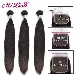 10 30 inch Bundles With Closure Malaysian Straight Hair 3 Bundles With 5x5 Closure Remy Human Innrech Market.com
