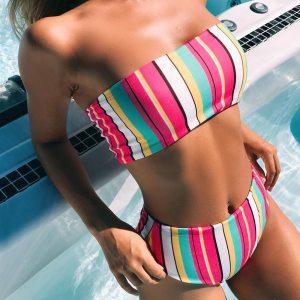 2019 Sexy Colorfu Rainbow Striped Floral Bandeau Biquini Swim Beach Wear Female Cut High Waist Swimsuit Innrech Market.com