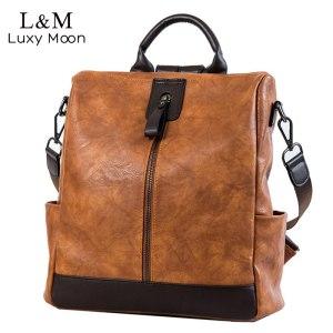 Fashion Women High Quality Leather Backpack Multifunction Leatherett Backpack For Female Big Bookbag Travel Bag Sac Innrech Market.com
