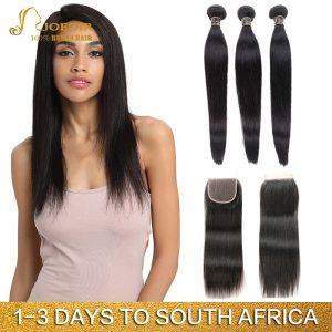 Joedir Hair Human Hair Weave 3 4 Bundles With Closure Brazilian Straight Weave Non Remy Hair Innrech Market.com