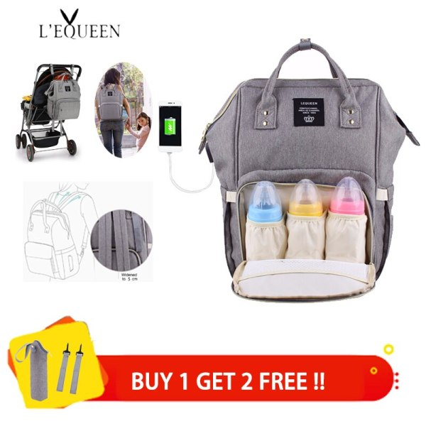 Lequeen USB Diaper Bags Large Nappy Bag Upgrade Fashion Travel Backpack Waterproof Maternity Bag Mummy Bags Lequeen USB Diaper Bags Large Nappy Bag Upgrade Fashion Travel Backpack Waterproof Maternity Bag Mummy Bags with 2 pcs Hook