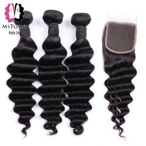 MsToxic Loose Deep Wave Bundles With Closure Brazilian Hair Weave Bundles With Closure Remy Human Hair Innrech Market.com