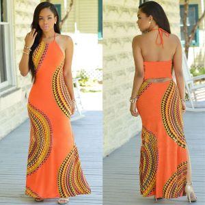 New Fashion Women Halter Dress Sleeveless Female Party Dress Ladies Printing Boho Maxi Long Dress Evening Innrech Market.com