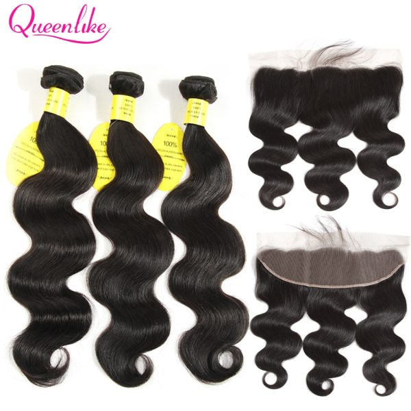 QueenLike Hair 13x4 Lace Frontal Closure With Bundles Non Remy Brazilian Hair Weave Body Wave Human QueenLike Hair 13x4 Lace Frontal Closure With Bundles Non Remy Brazilian Hair Weave Body Wave Human Hair Bundles With Closure