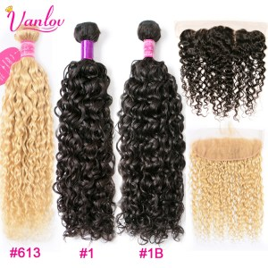 Vanlov Human Hair Bundles With Frontal Brazilian Water Wave With Closure Frontal With Bundles 1B 1 Innrech Market.com