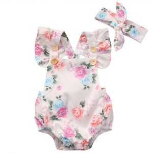 0 24M Adorable Baby Girls Floral Romper Summer Infant Toddler Baby Girl Short Ruffle Sleeve Clothes Innrech Market.com