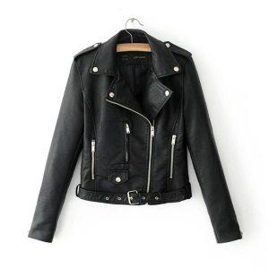 2018 Autumn Women Black Slim Cool Lady PU Leather Jackets Sweet Female Zipper Faux Femme Outwear 1 Innrech Market.com