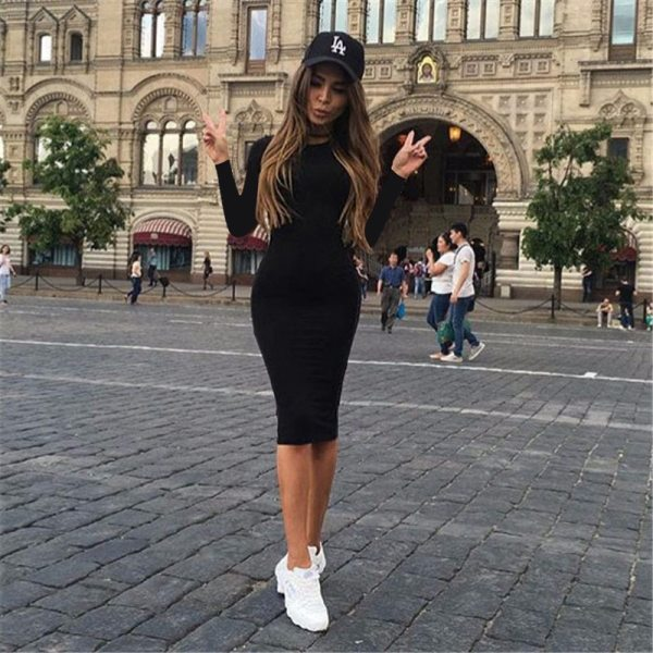2019 Autumn Hot Slim Bodycon Dress Women Solid Color Chic Party Dresses Casual Sleep Wear Inside 2019 Autumn Hot Slim Bodycon Dress Women Solid Color Chic Party Dresses Casual Sleep Wear Inside Wear Vestidos Pencil Dress