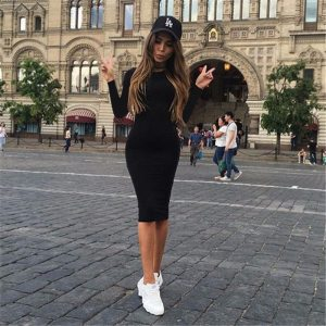 2019 Autumn Hot Slim Bodycon Dress Women Solid Color Chic Party Dresses Casual Sleep Wear Inside Innrech Market.com