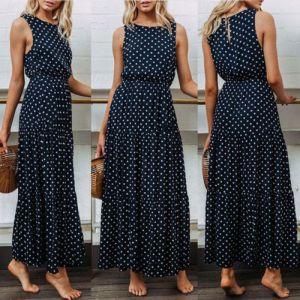 2019 Bobo Women Dark Blue Boho Loose Sleeveless Holiday Dot Print Long Maxi Dress Evening Party Innrech Market.com