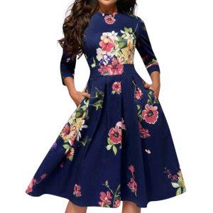 2019 Fashion Sexy Dress Girl Summer Dresses Casual Elegent A line Vintage Printing Party Vestidos Dress Innrech Market.com