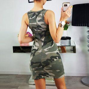 2019 Summer hot new sexy camouflage printed slim slimming sleeveless dress Robe imprime camouflage 40 Innrech Market.com
