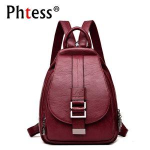 2019 Women Leather Backpacks Vintage Female Shoulder Bag Sac a Dos Travel Ladies Bagpack Mochilas School Innrech Market.com