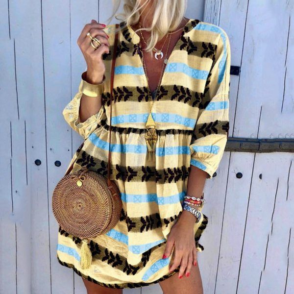 2019 Women boho Dress Half Sleeve Print V Neck Party Mini Dress Elegant vestidos de festa 2019 Women boho Dress Half Sleeve Print V-Neck Party Mini Dress Elegant vestidos de festa Women Dresses ropa mujer NEW