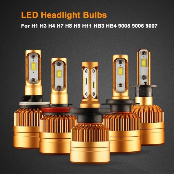 2Pcs H4 LED H7 H11 H8 9006 HB4 H1 H3 HB3 H9 H27 Car Headlight Bulbs 5 2Pcs H4 LED H7 H11 H8 9006 HB4 H1 H3 HB3 H9 H27 Car Headlight Bulbs LED Lamp with 1515 Chips 12000LM Auto Fog Lights 6000K 12V
