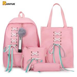 4Pcs Set Ribbon Chain Bowknot Letter Mochila Canvas Backpack Travel Rucksacks Leisure Backpacks For Teenage Girls Innrech Market.com