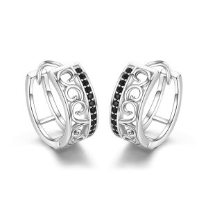 925 Sterling Silver Black Spinel Trendy Engagement Hoop Earrings for Women Fine Jewelry Bijoux Pendientes Mujer Innrech Market.com