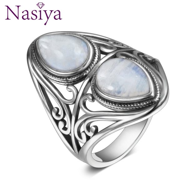 925 Sterling Silver Rings Original Design Vintage Natural Rainbow Moonstone Ring For Women Men Female Fine 925 Sterling Silver Rings Original Design Vintage Natural Rainbow Moonstone Ring For Women Men Female Fine Jewelry Gifts