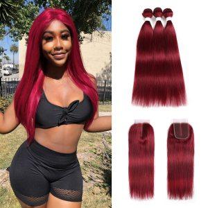 99J Burgundy Human Hair Bundles With Closure 4x4 Red Color Brazilian Straight Hair Weave Bundles With Innrech Market.com