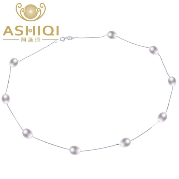 ASHIQI Real 925 Sterling Silver Pendant Necklace For Women with Natural Freshwater Pearl Jewelry 7 8mm ASHIQI Real 925 Sterling Silver Pendant Necklace For Women with Natural Freshwater Pearl Jewelry 7-8mm White Pink Purple Black