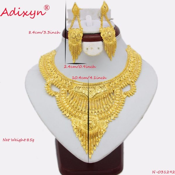 Adixyn Fashion African India Necklace Earrings Jewelry Set For Women Gold Color Arab Wedding Party Birthday 1 Adixyn Fashion African India Necklace Earrings Jewelry Set For Women Gold Color Arab Wedding/Party/Birthday Bride Gifts N031292