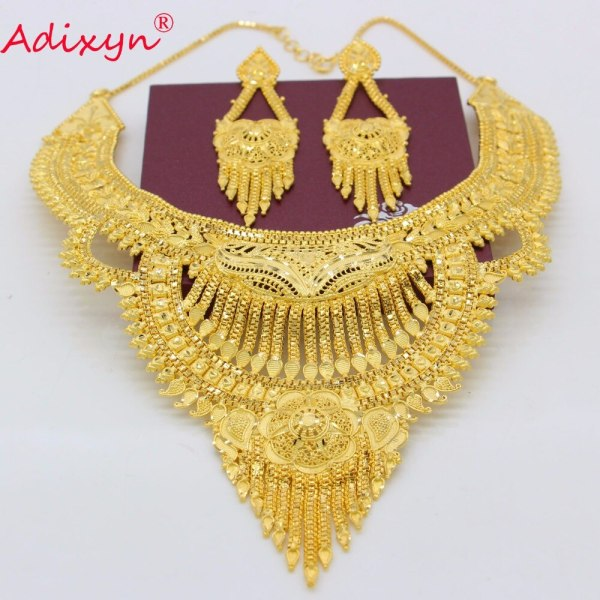 Adixyn Fashion African India Necklace Earrings Jewelry Set For Women Gold Color Arab Wedding Party Birthday 2 Adixyn Fashion African India Necklace Earrings Jewelry Set For Women Gold Color Arab Wedding/Party/Birthday Bride Gifts N031292