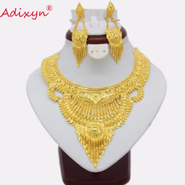 Adixyn Fashion African India Necklace Earrings Jewelry Set For Women Gold Color Arab Wedding Party Birthday Adixyn Fashion African India Necklace Earrings Jewelry Set For Women Gold Color Arab Wedding/Party/Birthday Bride Gifts N031292