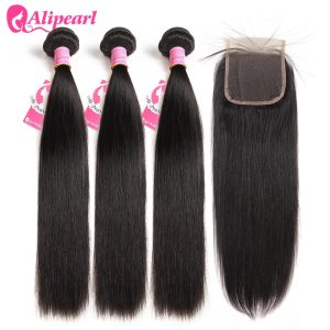 AliPearl Hair 100 Human Hair Bundles With Closure Brazilian Straight Hair Weave 3 Bundles Natural Black Innrech Market.com