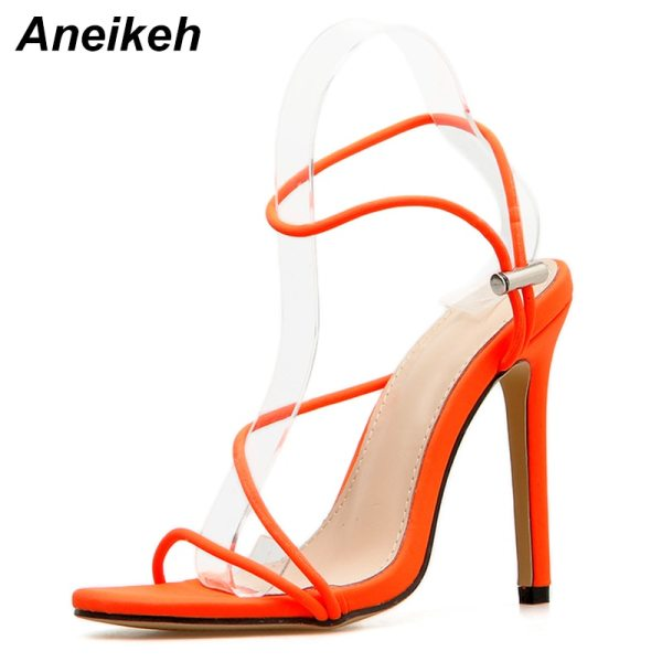 Aneikeh 2019 New Fashion Sandals Ankle Strap Cross Strap Woman Sandals 12CM High Heels Narrow Band 3 Aneikeh 2019 New Fashion Sandals Ankle Strap Cross-Strap Woman Sandals 12CM High Heels Narrow Band Slip-On Sandals Dress Pumps