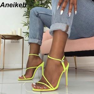 Aneikeh 2019 New Fashion Sandals Ankle Strap Cross Strap Woman Sandals 12CM High Heels Narrow Band Innrech Market.com