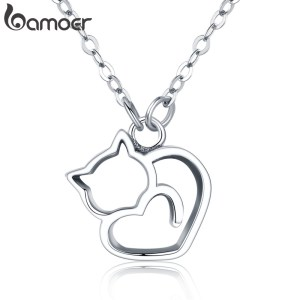 BAMOER Authentic 100 925 Sterling Silver Lovely Cat Exquisite Women Pendant Necklace Luxury Sterling Silver Jewelry Innrech Market.com