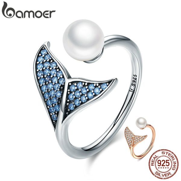 BAMOER Authentic 925 Sterling Silver Adjustable Dolphin Tail Blue CZ Finger Rings for Women Sterling Silver BAMOER Authentic 925 Sterling Silver Adjustable Dolphin Tail Blue CZ Finger Rings for Women Sterling Silver Jewelry Gift SCR286