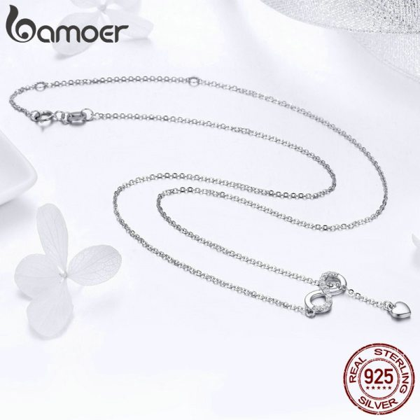 BAMOER Hot Sale 100 925 Sterling Silver Infinity Forever Love Chain Pendant Necklaces for Women Sterling 3 BAMOER Hot Sale 100% 925 Sterling Silver Infinity Forever Love Chain Pendant Necklaces for Women Sterling Silver Jewelry SCN223