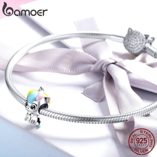 BAMOER New Collection 925 Sterling Silver Colorful Enamel Licorne Beads fit Charms Bracelets Necklaces DIY Jewelry 2 BAMOER New Collection 925 Sterling Silver Colorful Enamel Licorne Beads fit Charms Bracelets & Necklaces DIY Jewelry Gift BSC059