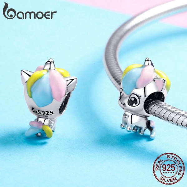 BAMOER New Collection 925 Sterling Silver Colorful Enamel Licorne Beads fit Charms Bracelets Necklaces DIY Jewelry 3 BAMOER New Collection 925 Sterling Silver Colorful Enamel Licorne Beads fit Charms Bracelets & Necklaces DIY Jewelry Gift BSC059