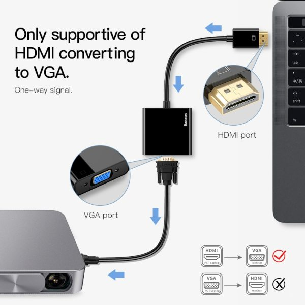 Baseus HDMI to VGA Cable HDMI VGA Adapter Digital HDMI to VGA Jack 3 5 mm 2 Baseus HDMI to VGA Cable HDMI VGA Adapter Digital HDMI to VGA Jack 3.5 mm Converter Video Aux Audio Splitter For Laptop PS4 TV