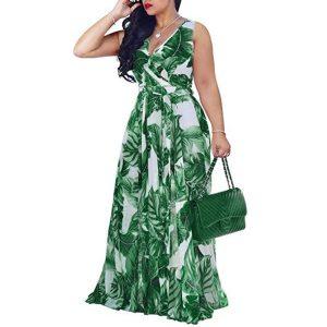 Bohemian Floral Print Long Dress For Women Plus Size Sexy Deep V Neck High Waist Bandage Innrech Market.com