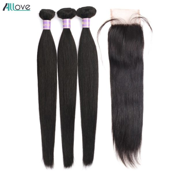 Brazilian Straight Hair Bundles With Closure Middle Part Sew In Hair Weave With Closure Allove Non Brazilian Straight Hair Bundles With Closure Middle Part Sew In Hair Weave With Closure Allove Non Remy Human Hair With Closure
