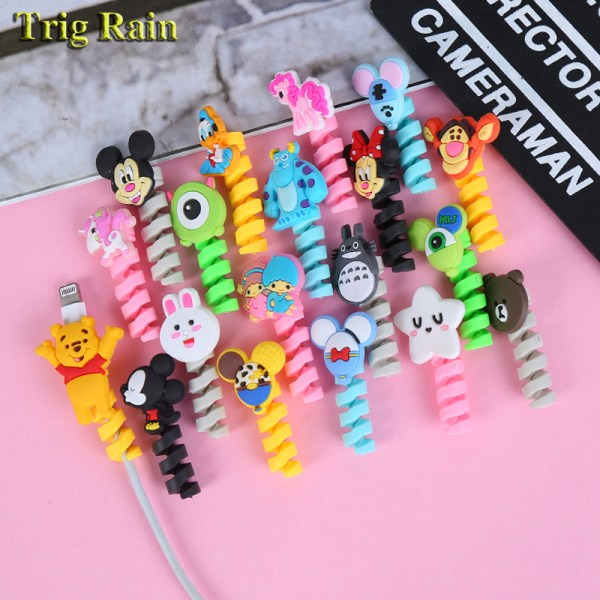 Cartoon Spiral Cable protector Data Line Silicone Bobbin winder Protective For iphone Samsung Android USB Charging Cartoon Spiral Cable protector Data Line Silicone Bobbin winder Protective For iphone Samsung Android USB Charging earphone Case