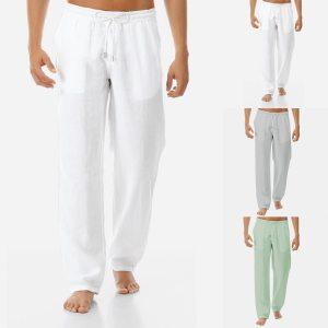 Casual Harem Men s pants Fitness joggers Male Solid Elastic Waist Straight Loose Pants 2019 Summer Innrech Market.com