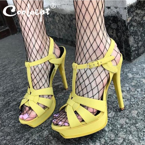 Coolcept Genuine Leather High Heel Sandals Women Heels 10cm And 14cm Sexy Footwear Fashion Woman Shoes Coolcept Genuine Leather High Heel Sandals Women Heels 10cm And 14cm Sexy Footwear Fashion Woman Shoes R4425 Hot Sale 33-40