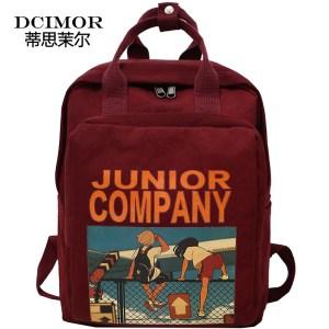 DCIMOR Women Backpack Retro Cartoon Printing Nylon waterproof shoulder bags School Backpacks For Teenage Girl A Innrech Market.com