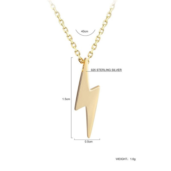 Dorado 925 Sterling Silver Necklaces Golden Silver Lightning Pendant Necklaces Fine Jewelry Gift Birthday For Women 1 Dorado 925 Sterling Silver Necklaces Golden Silver Lightning Pendant Necklaces Fine Jewelry Gift Birthday  For Women