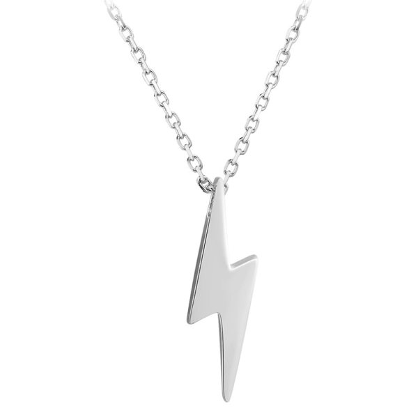 Dorado 925 Sterling Silver Necklaces Golden Silver Lightning Pendant Necklaces Fine Jewelry Gift Birthday For Women Dorado 925 Sterling Silver Necklaces Golden Silver Lightning Pendant Necklaces Fine Jewelry Gift Birthday  For Women